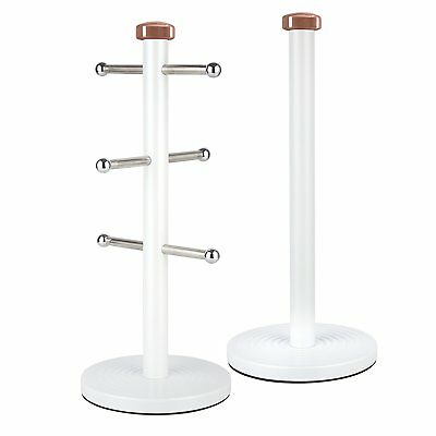 Tower Rose Gold & White Stainless Steel Linear Towel Pole & Mug Tree