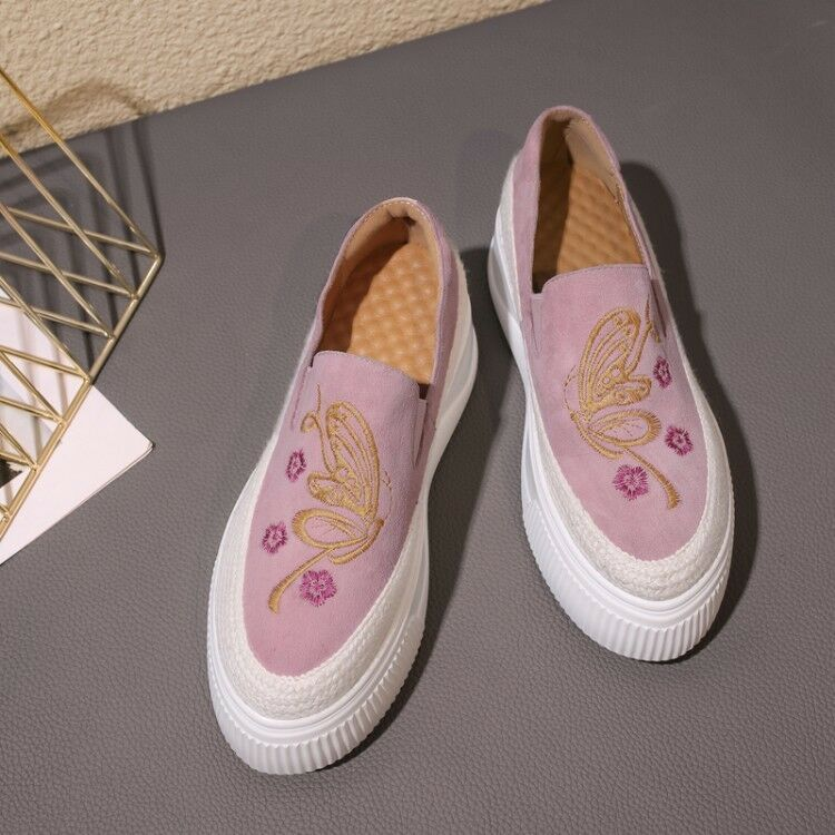 Casual Wouomo Round Toe Embroidery Slip On Loafers Athletic Butterfly Butterfly Butterfly scarpe b4a374