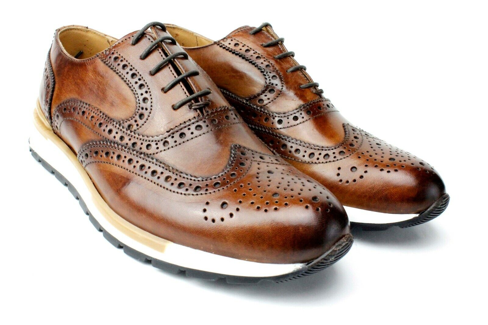 IVAN TROY Jamal Brown Lace Up Italian Leather Dress shoes Oxford Office shoes