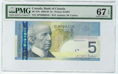 2008 $5.00 BC-67b PMG 67 EPQ  3 digit  serial # Tough to Find