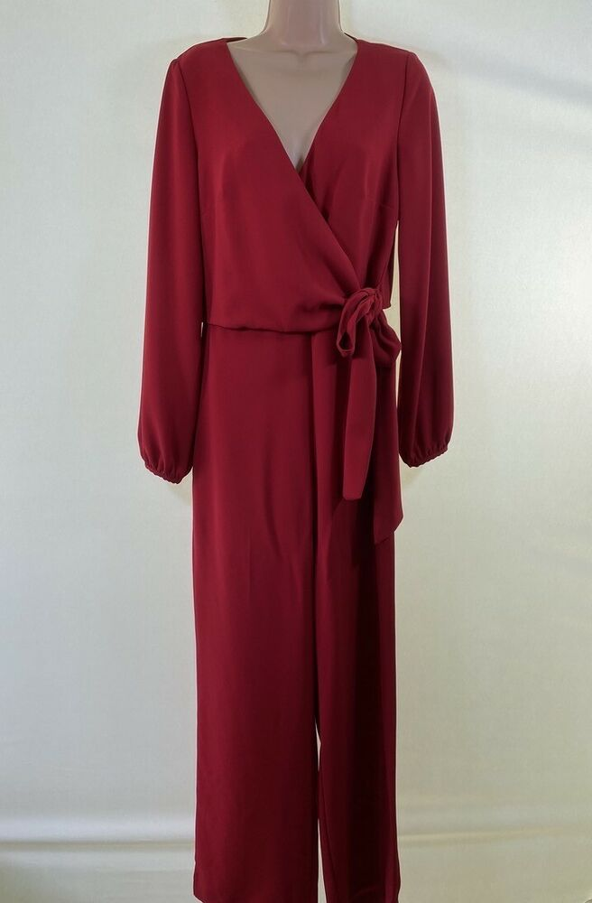 Bnwt Rouge Next Wrap Long Sleeve Wide Leg Jumpsuit Taille 10 Euro 38 £ 65