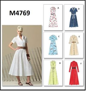 Details about McCalls Sewing Pattern M4769 Button Down Dress Easy 6 style  Miss, Plus Size 8-22