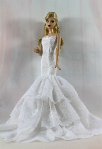 White Royalty Mermaid Dress Party Dress//Clothes//Gown For 11.5in.Doll S515