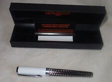 LANCASTER ITALY BALL POINT PEN SILVER WHITE TONE, BLACK INK  NEW +BOX