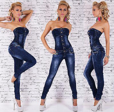 Women's Strapless Dark Denim Jeans Jumpsuit Overall - XS/S/M/L/XL