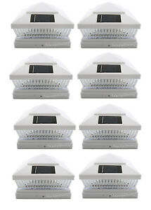 White-6X6-5LED-039-s-Outdoor-Garden-Solar-Post-Deck-Cap-Square-Fence-Lights-8-Pack