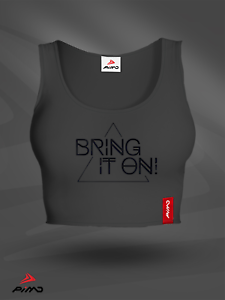 Dark Grey Motivation Cotton Gym Female Fitness PIMD Women Crop Top Bring It On