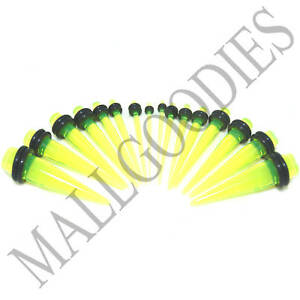 V035-Acrylic-Lime-Green-Stretchers-Tapers-Expander-Ear-Plugs-14G-to-1-034-Taper-Kit