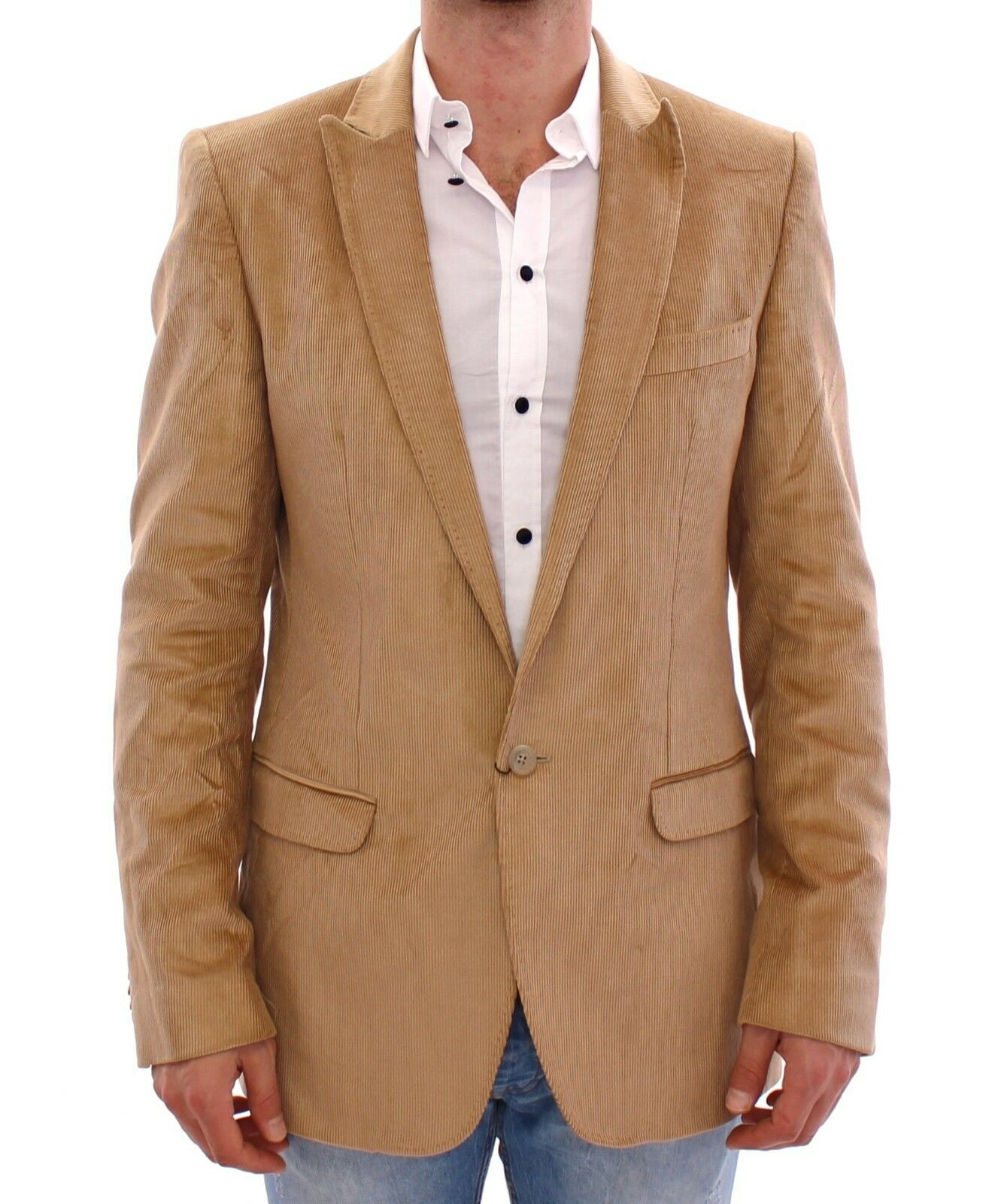 Nuova con Etichetta Dolce & Gabbana D&g Beige Manchester Giacca Cappotto Blazer