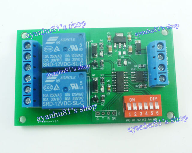 DC 12V 2CH RS485 Relay Board Modbus RTU AT command Switch Module PLC LED Motor