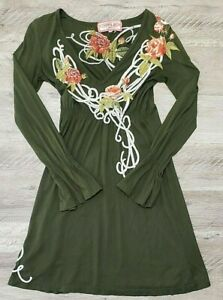 Johnny-Was-JWLA-Womens-Dress-Size-XS-Floral-Embroidered-Long-Sleeve-Green
