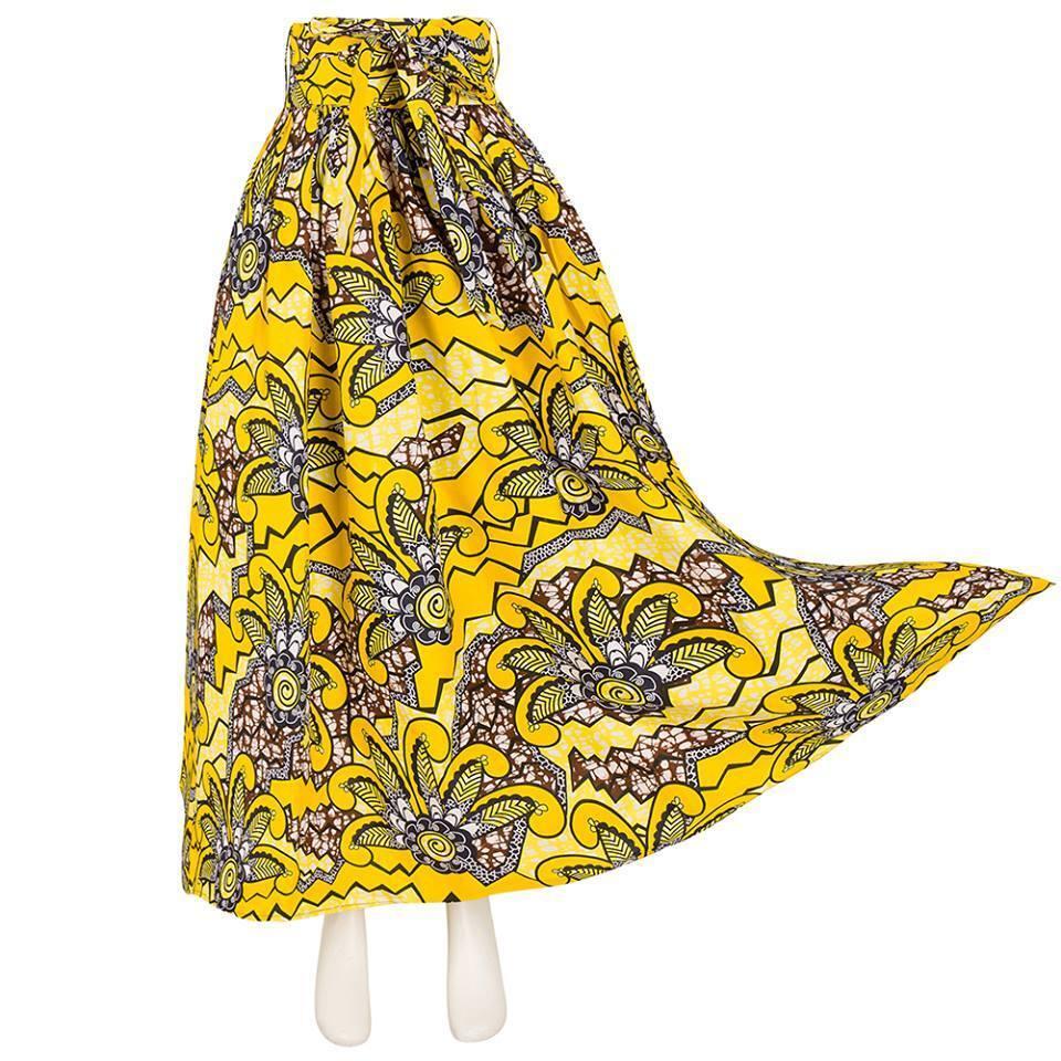 Women Maxi Long Skirt African Ankara Wax fabric