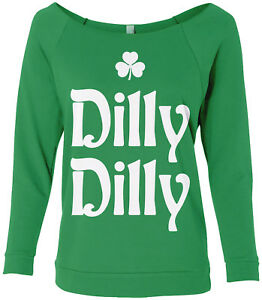 b437f56a7bf Details about Dilly Dilly St. Patrick s Day Women s Raw-Edge Raglan Shirt  Irish Beer Shamrock