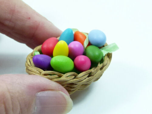 1 Easter Basket with 10 different coloured Eggs for your Dollhouse Deco 1:12