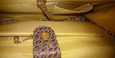Damentasche Handtasche Clutch Tasche Abendtasche Damen Braun Gold 30,5x17,5 cm