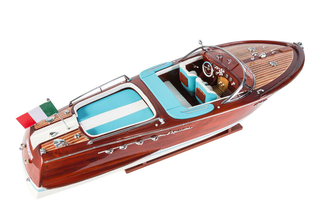 HANDCRAFTED WOODEN MODEL SPEED BOAT SHIP RIVA ISEO GREAT GIFT DECOR 70cm