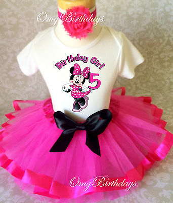 Pink Purple Minnie Mouse 5th Fifth Birthday Girl Tutu Outfit Headband Set