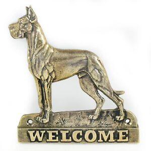 Dogue Allemand - Plaque De Laiton Avec Un Chien 'welcome' Art Dog Fr