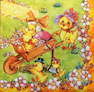 4 X PAPER NAPKINS  EASTER  EGGS  YELLOW FAMILY  chicken  DECOUPAGE  CRAFTING  W7