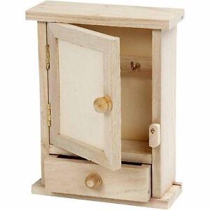 Key Cabinet Large Plain Wood Decoupage Woodeeworld