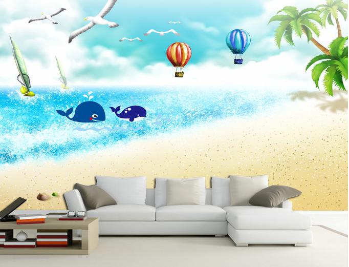 3D Beach Whale 551 Wallpaper Murals Wall Print Wallpaper Mural AJ WALL AU Kyra