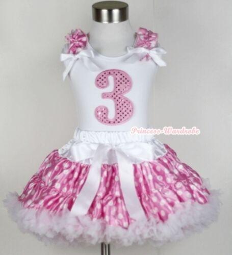 Light Pink White Polka Dot Pettiskirt Sparkle Birthday Number Age White Top 1-5Y