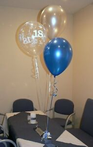 18th Birthday Balloons 10 Table Decorations Blue and Silver or