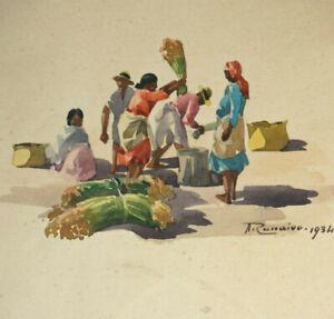 RECOLTE-a-MADAGASCAR-3-AQUARELLES-ORIENTALISTES-Original-Signe-A-RANAIVO-1934
