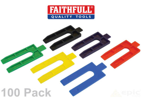 100 Faithfull Farbe Plastik Packer Keil Abstandhalter Fenster//Verglasung//Glas