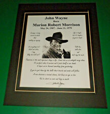 JOHN WAYNE MATTED 8 QUOTE PHOTO REPRINT SIGNATURE DISPLAY AMERICAN LEGEND DUKE