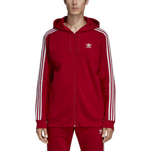 Details about New Men ADIDAS Originals 3-Stripes Full-Zip Hoodie (DV1635)  Power Red / White