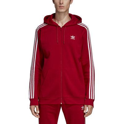 adidas Men's Essential 3 Stripe Full Zip Hoody RedWhite