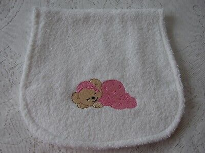 Pink Dreaming Teddy Bear Embroidered White Towelling Burp Cloth Luxuriant In Design Baby Bibs & Burp Cloths