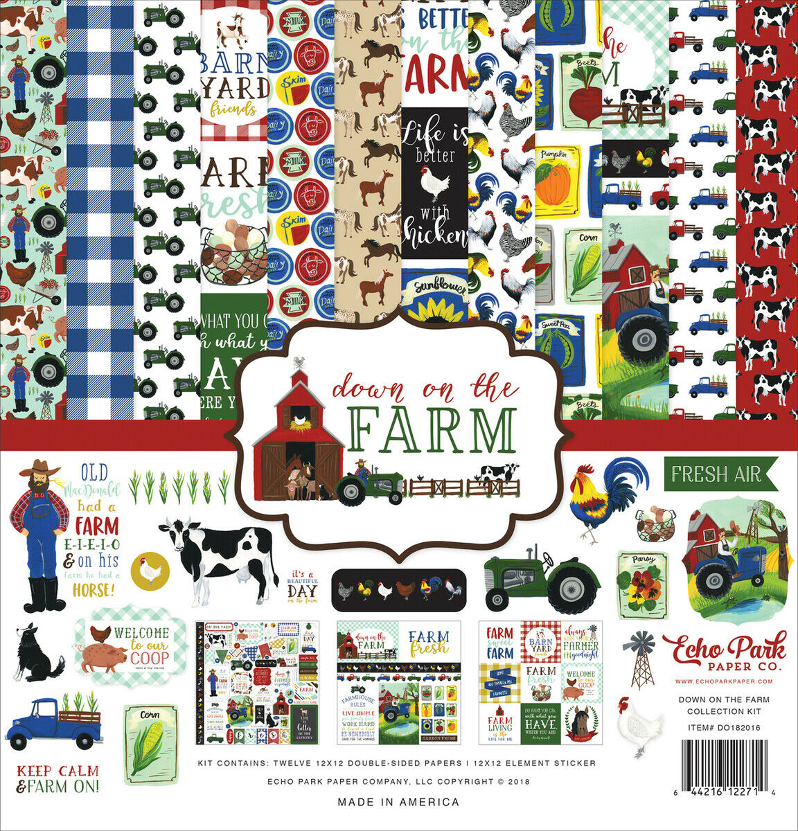 """ECHO PARK /""""DOWN ON THE FARM/"""" 12X12 PAPER  ANIMALS CHICKENS SCRAPJACK/'S PLACE"""