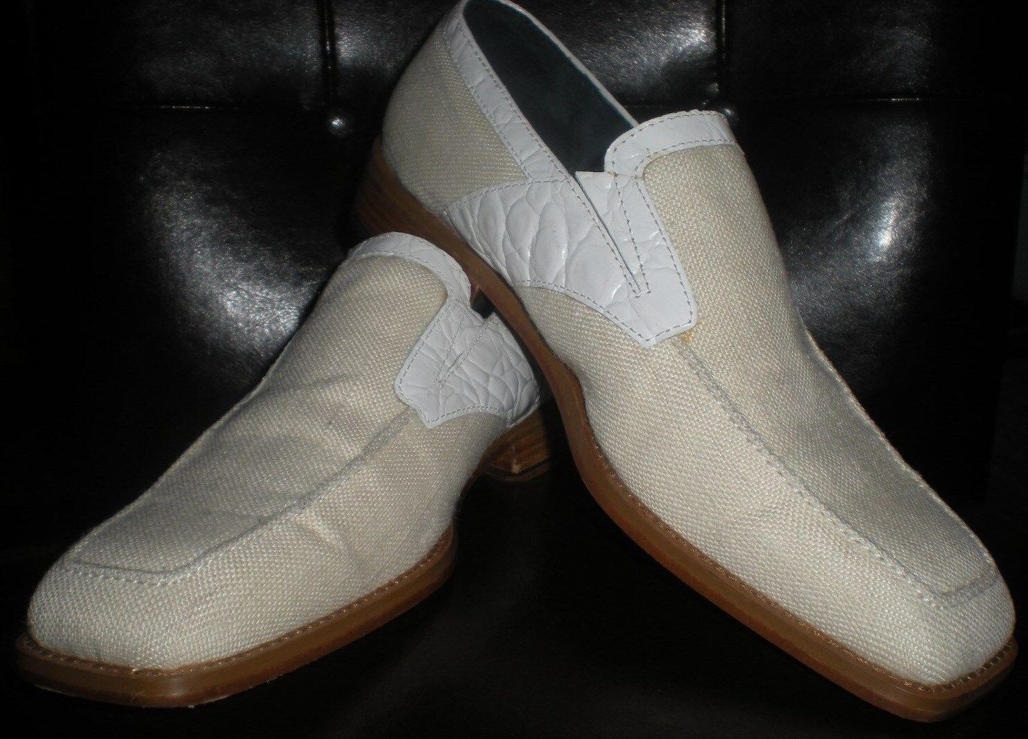 Giorgio Brutini private collection WhiteFabric Leather dress shoes Size 7.5
