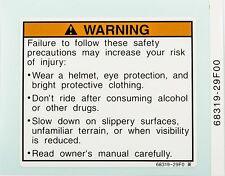 Suzuki Genuine TL1000 Model: K1 (2001) Label Warning 68319-29F00-000