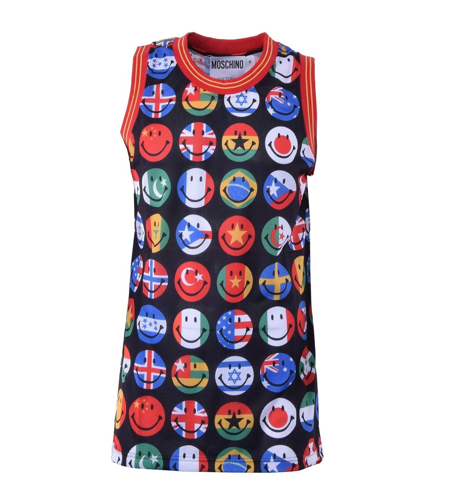 MOSCHINO COUTURE Smiley Tank Top T-Shirt Muskelshirt mit Flaggen Print 04455