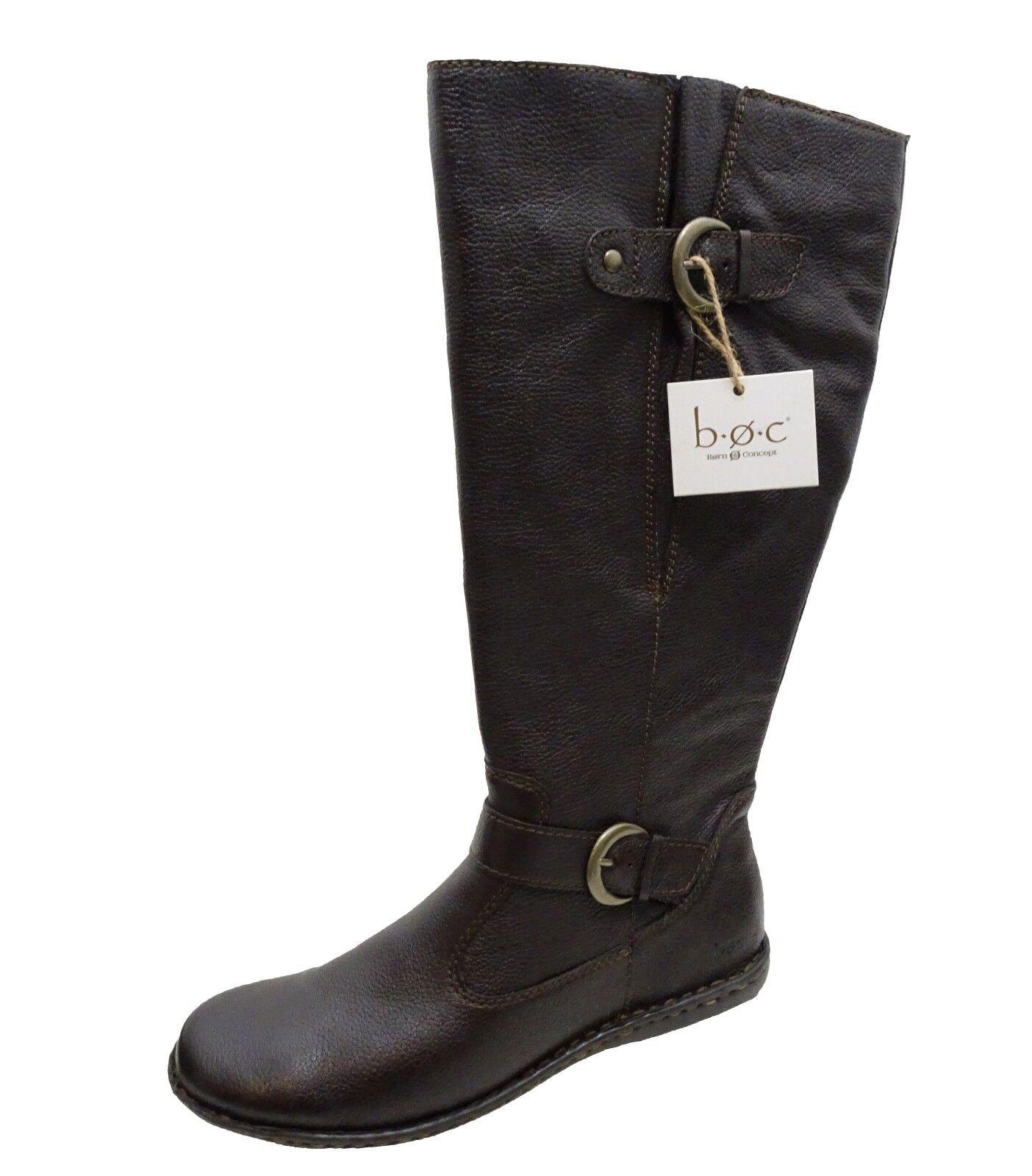 B.O.C Womens Faye Pull On Tall Knee High Strap Buckle Inside Zip Fashion Boots