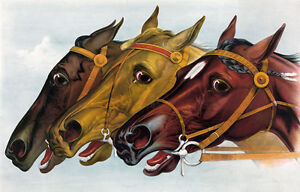 """perfect  36x24 oil painting handpainted on canvas """" three horse heads """"N4065"""