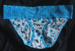 PEACOCKS-Fabulous-Silky-Brief-with-Lace-Waist-12-Blue-Multi-BNWOT