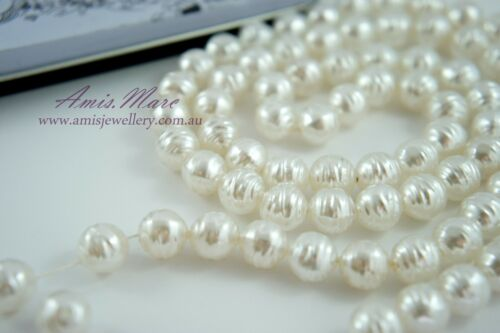 80pcs Beads-10mm White Color Yarn Ball Round Imitation Acrylic Pearl Spacer