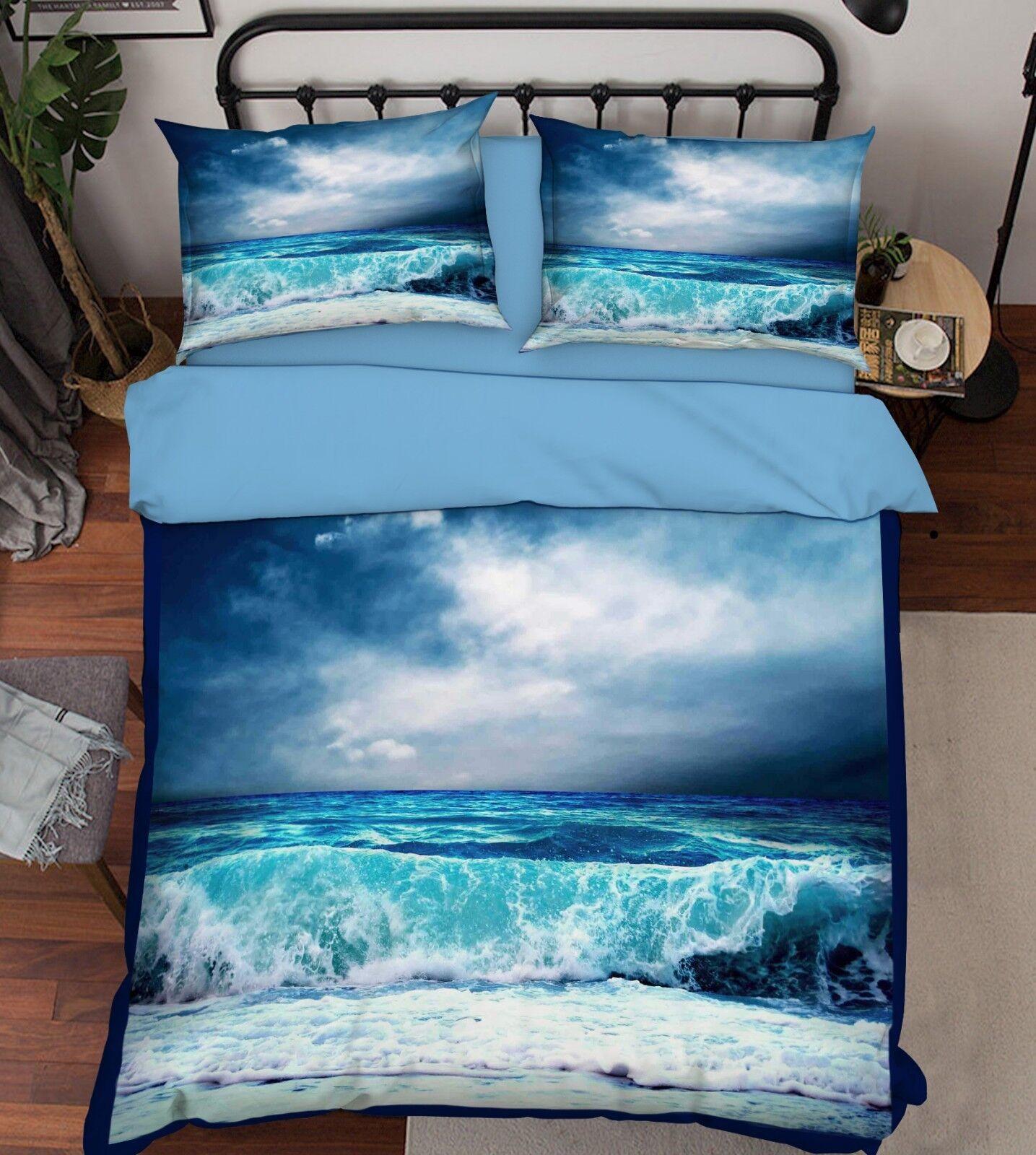 3D Sky Surf Beach 793 Bed Pillowcases Quilt Duvet Cover Set Single Queen King CA