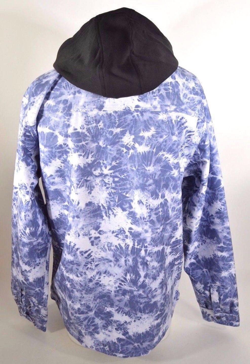 2015 NWT MENS 686 TECH GOODS ALOHA BONDED JACKET $90 XL blue tie dye snap front