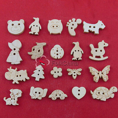Assorted Cartoon Natural Color Wood Buttons Sewing Scrapbooking Craft Cardmaking
