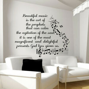 Music Wall Decals Vinyl Notes Decal Butterfly Sticker Nursery Bedroom Art Lm91