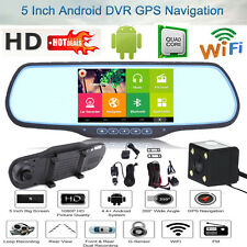 "5"" Full HD 1080P Android GPS WIFI Car DVR Rear View Mirror Dual Lens Dash Camera"