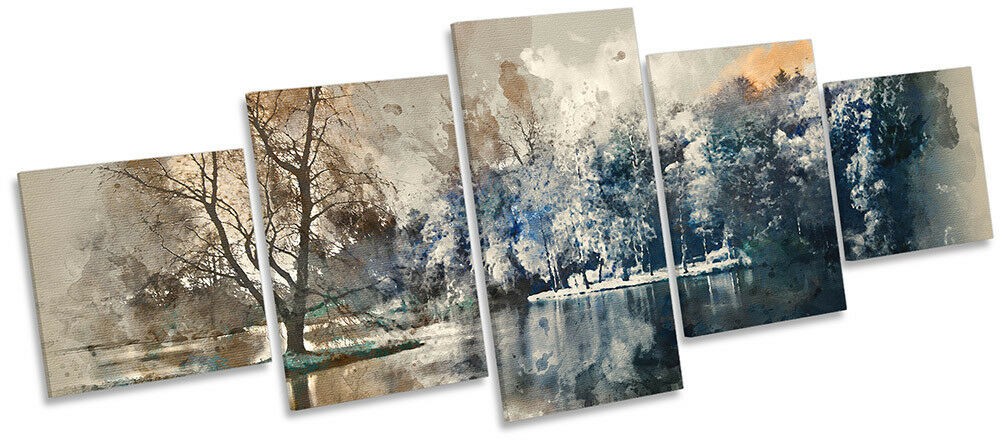 marron Abstract Landscape Framed Canvas Print Five Panel Wall Art