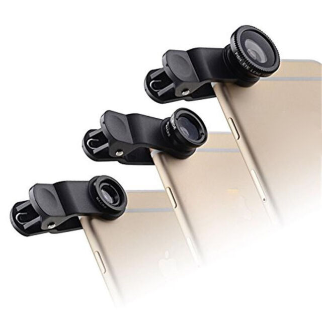 3-in-1 180° Fish Eye Fisheye + Wide Angle + Macro Lens Kit for Smartphone