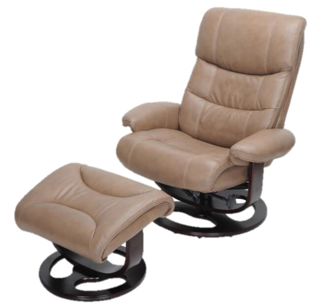 Barcalounger Dawson Frampton Brown Leather Pedestal Recliner Chair And  Ottoman