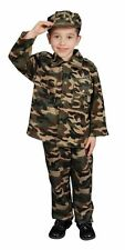 CHILDRENS BOYS UNIFORMS MILITARY CAMO ARMY FANCY DRESS COSTUME - MEDIUM